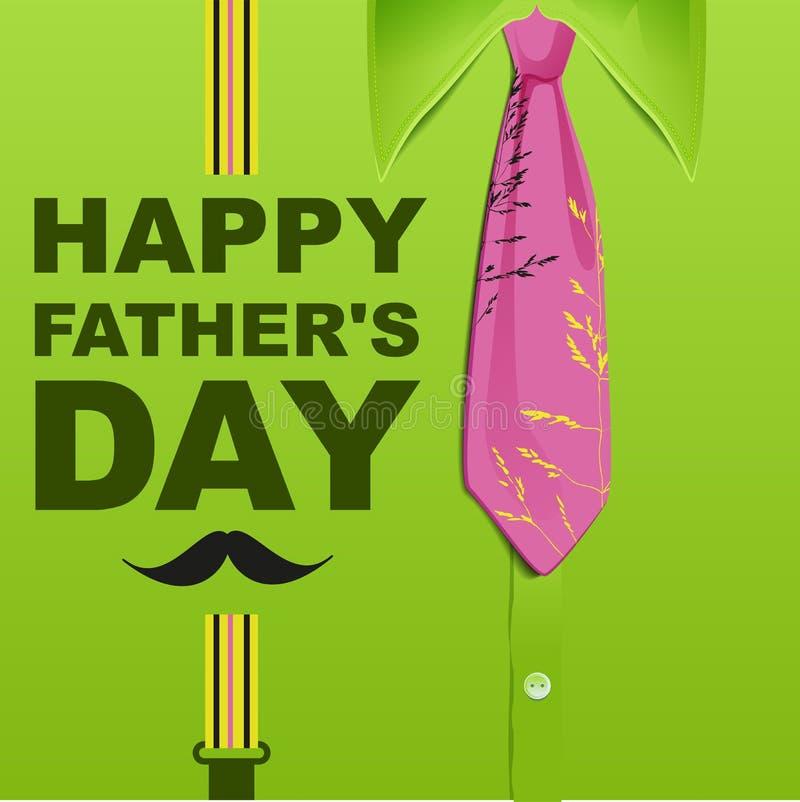 Jour de pères heureux Carte de voeux verte de calibre illustration de vecteur