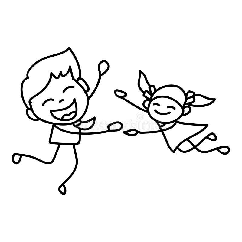 Jour de pères heureux de concept de bande dessinée de dessin de main illustration stock