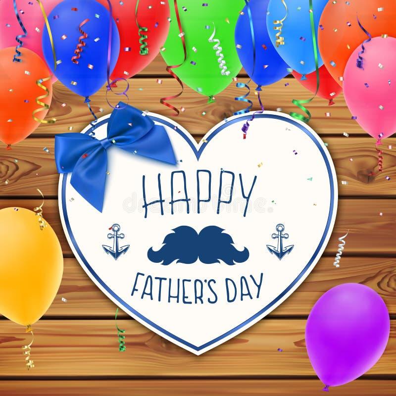 Jour de pères heureux Fond avec le coeur de papier illustration de vecteur