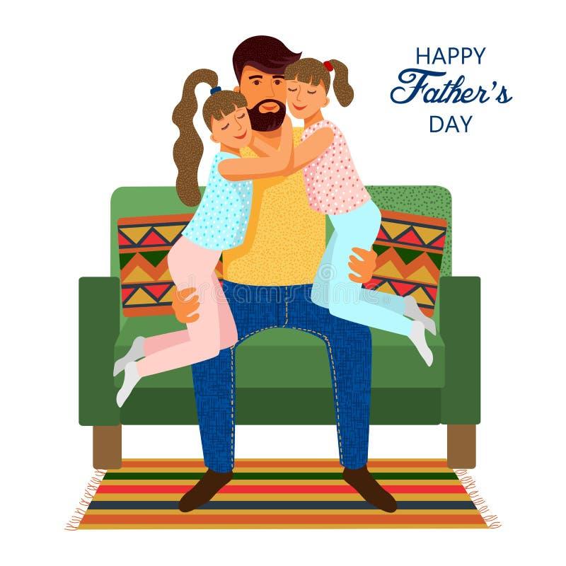 Jour de pères heureux Père et filles plats mignons de bande dessinée sur le sofa d'isolement sur un fond blanc Calibres de vecteu illustration libre de droits