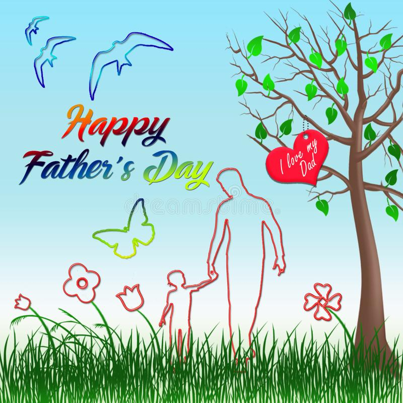 Jour de p?res heureux Marche avec mon père illustration de vecteur