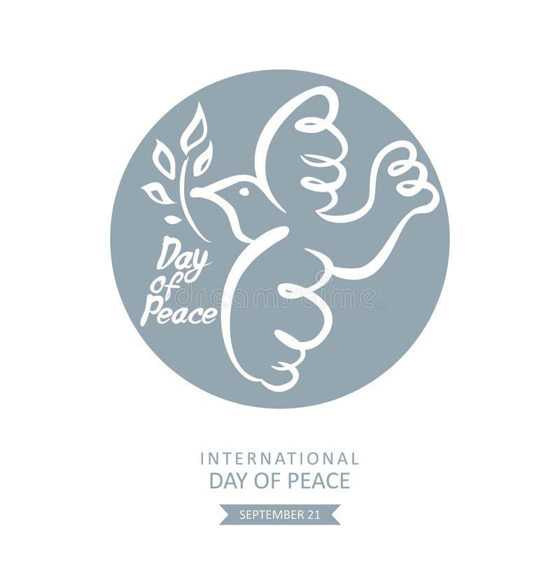 Jour de paix Calibre rond de vecteur avec la colombe et la branche illustration libre de droits