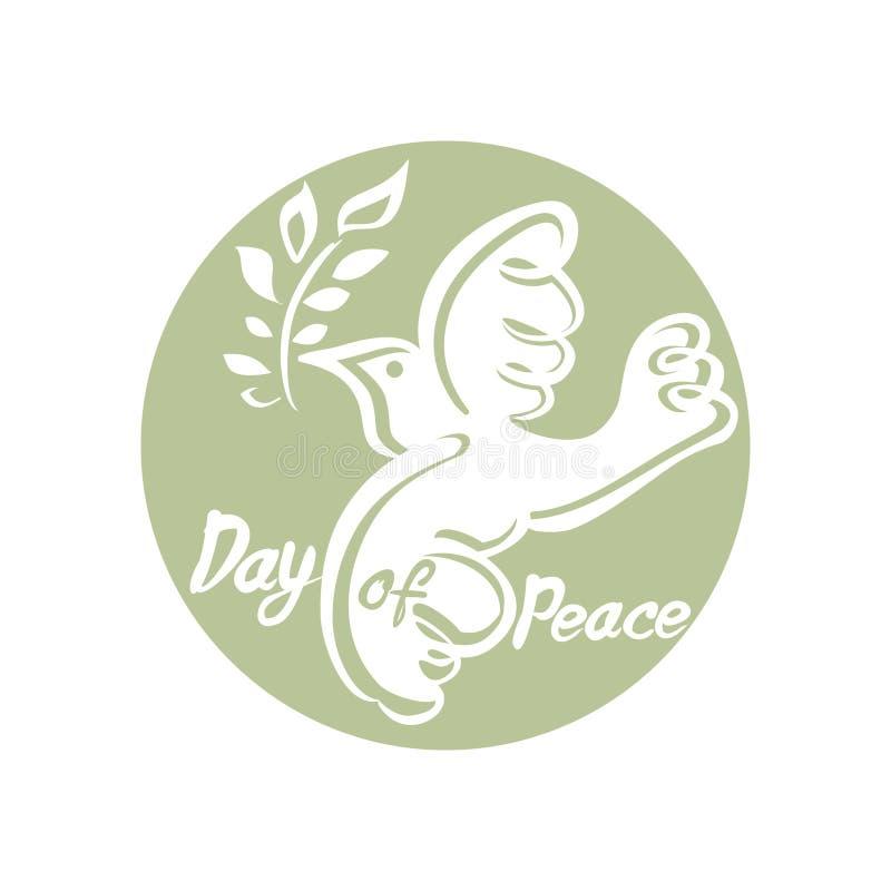 Jour de paix Calibre rond de vecteur avec la colombe et la branche illustration stock