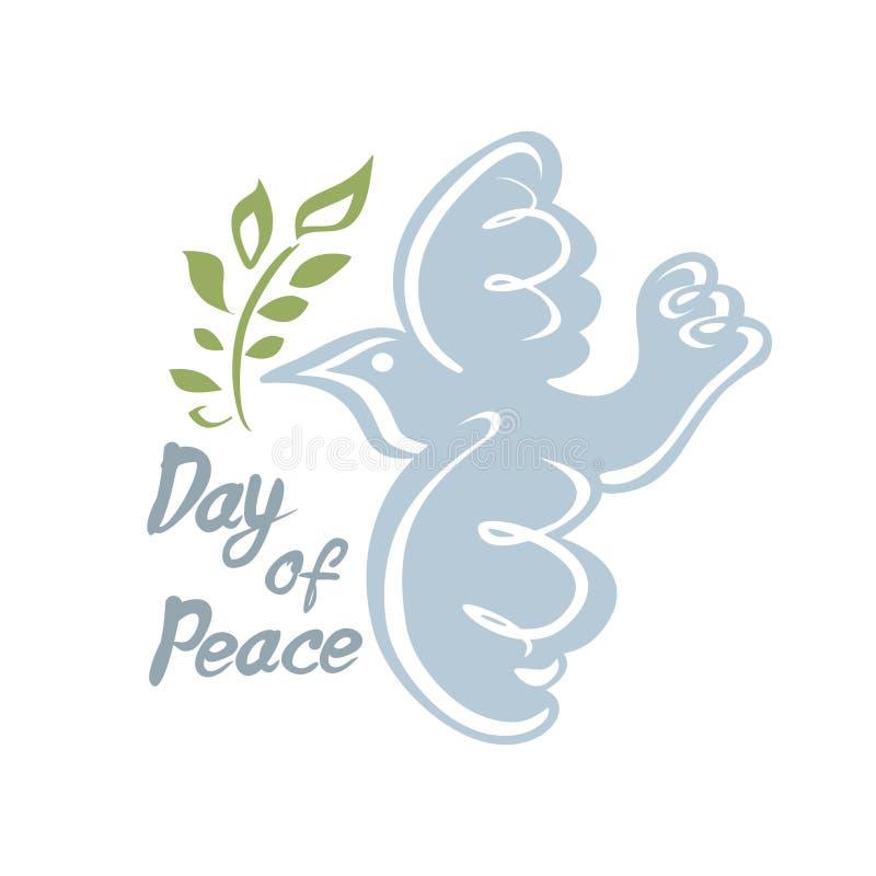 Jour de paix L'aspiration de main a plongé avec la branche d'olivier illustration libre de droits