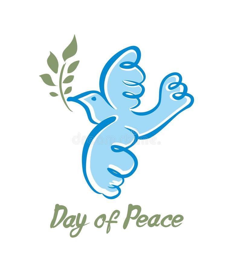 Jour de paix L'azur de vecteur a plongé avec la branche verte illustration de vecteur