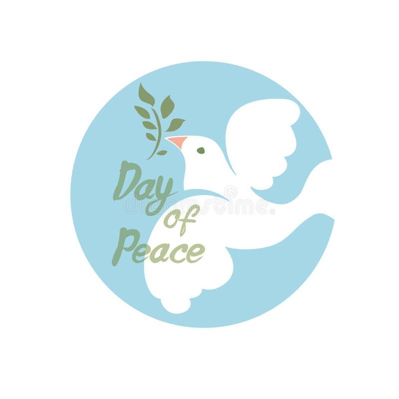 Jour de paix Le blanc a plongé avec la branche verte illustration stock
