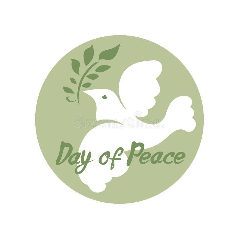 Jour de paix Le blanc a plongé avec la branche verte Calibre rond de vecteur illustration stock