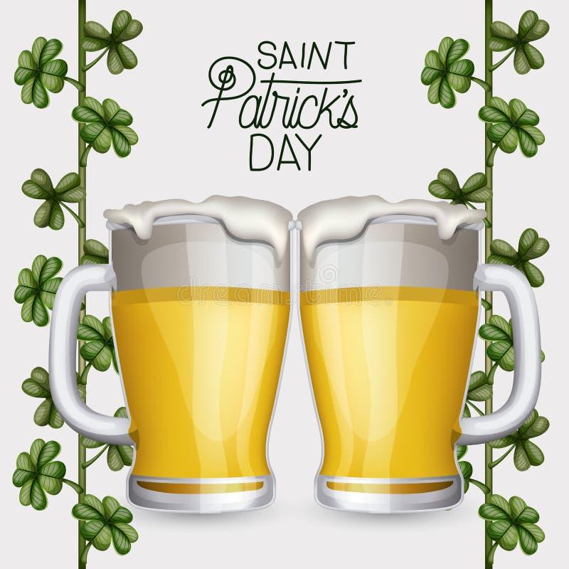 Jour de patricks de saint d'affiche avec deux tasses de bière et usine s'élevante des trèfles en silhouette colorée au-dessus du  illustration libre de droits