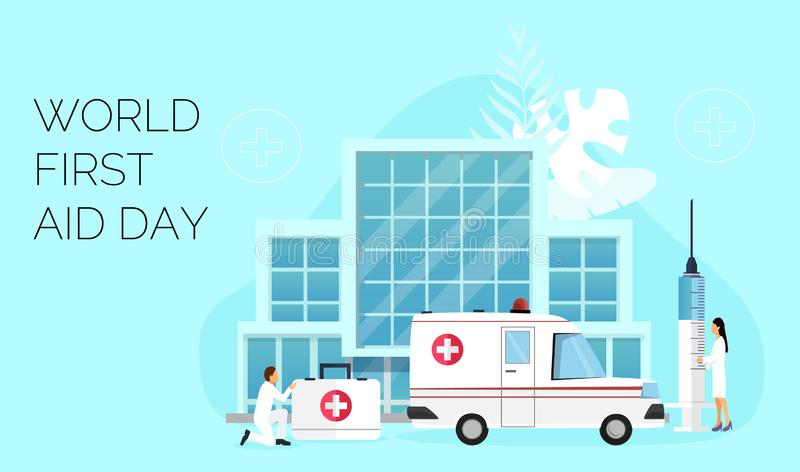 Jour de premiers secours du monde le deuxième samedi en septembre illustration de vecteur