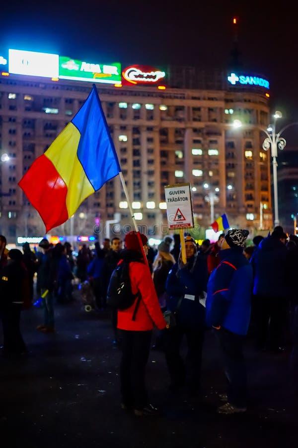 Jour de protestation roumaine 22th à Bucarest, Roumanie photos libres de droits