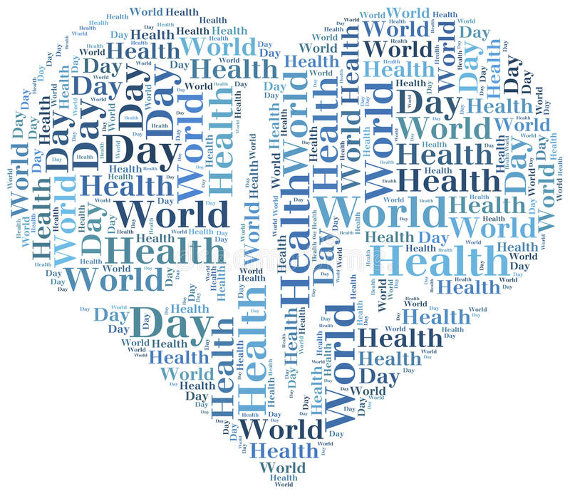 Jour de santé du monde de nuage de Word connexe illustration libre de droits