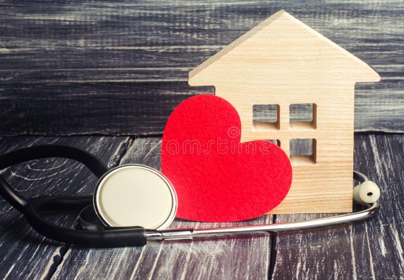 Jour de santé du monde, le concept de la médecine de la famille et assurance Stéthoscope et coeur images stock