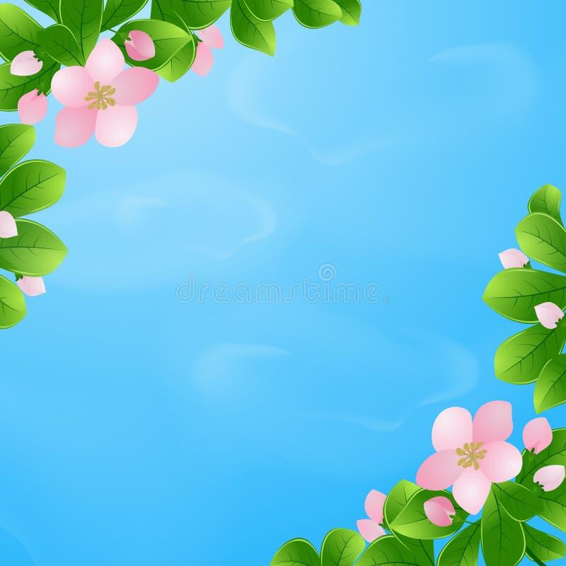 Jour de source Fond naturel Cerises de floraison sur un fond de ciel bleu avec des nuages Illustration de vecteur EPS10 illustration de vecteur