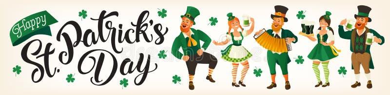 Jour de St Patrick s Illustration de vecteur avec les personnes drôles dans des costumes de carnaval pour des bannières, insectes illustration stock