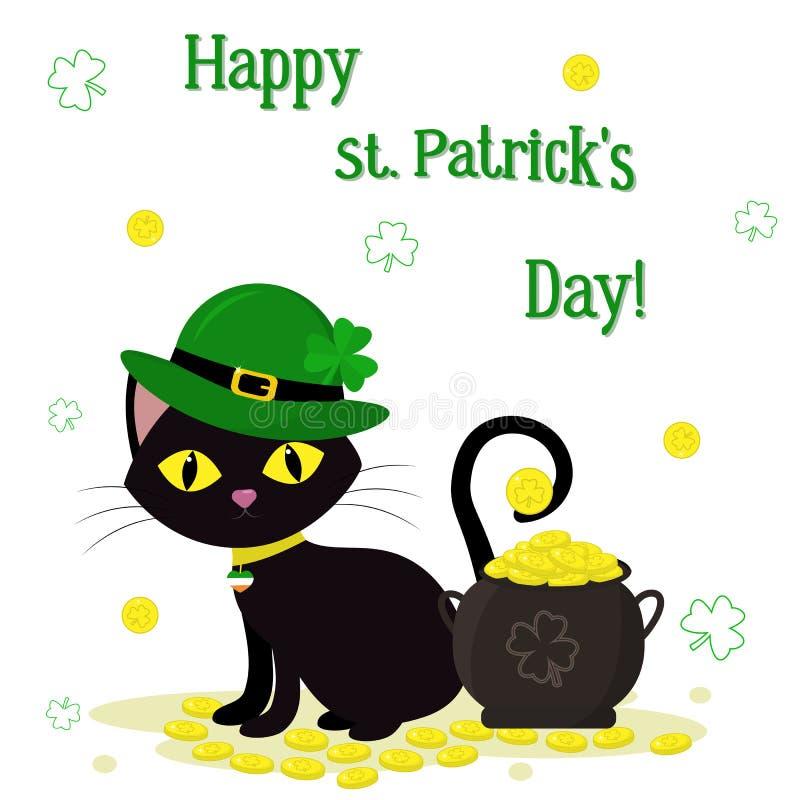 Jour de StPatrick s Un chat noir dans des chapeaux verts d'un lutin, une bouilloire avec des pièces d'or, un trèfle Style de band illustration stock