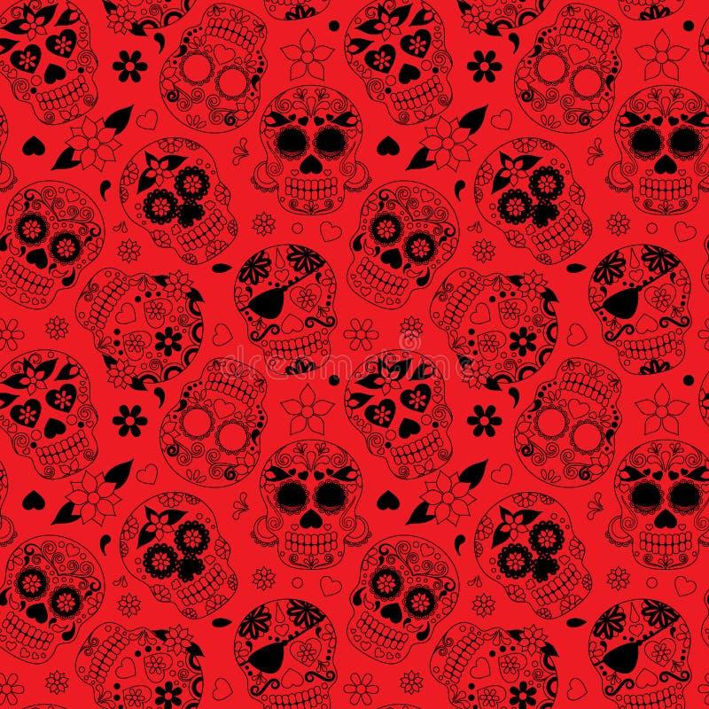 Jour de Sugar Skull Seamless Vector Background mort