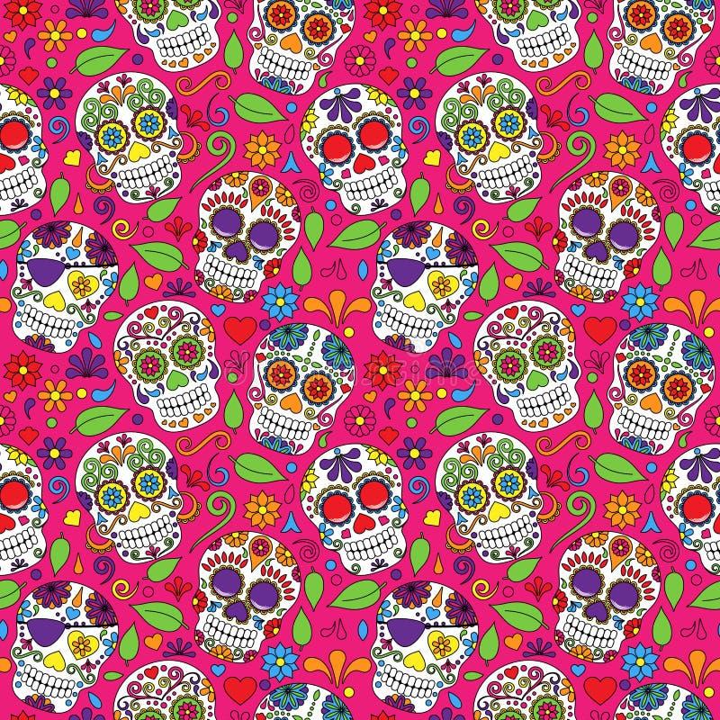 Jour de Sugar Skull Seamless Vector Background mort illustration stock