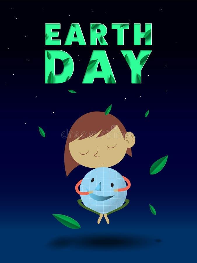 Jour de terre Étreignez le monde pour le 22 avril avec les mots, les planètes et les feuilles vertes photographie stock libre de droits