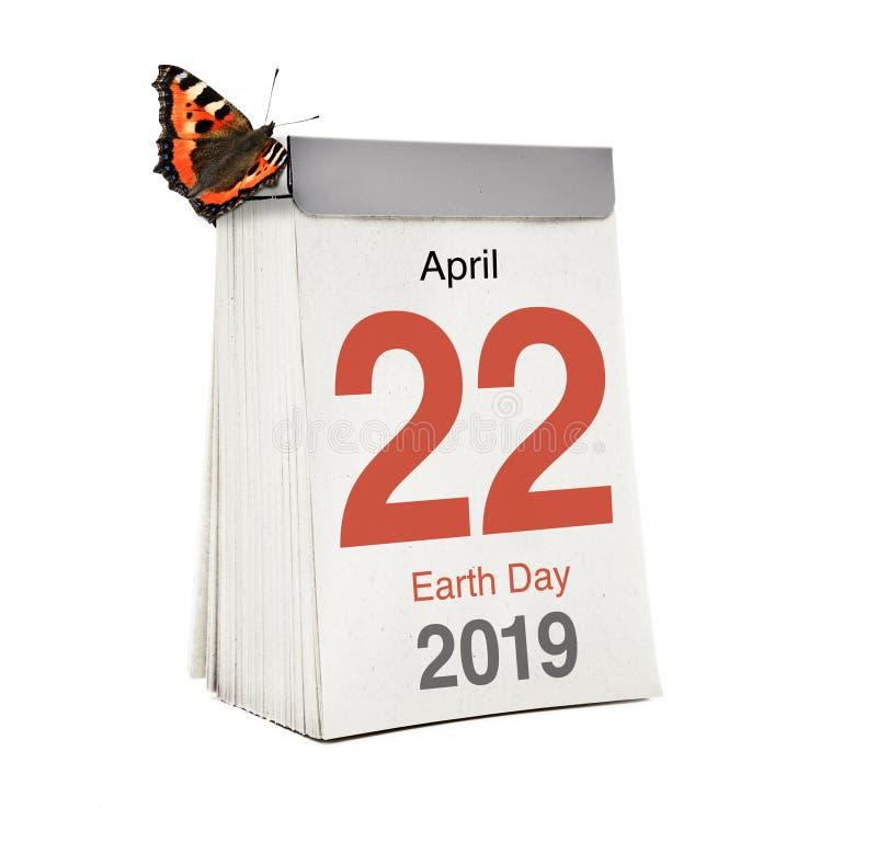 Jour de terre de calendrier le 22 avril 2019 photographie stock libre de droits