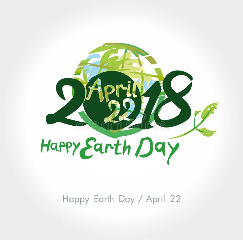 Jour de terre heureux 2018 22 avril illustration libre de droits