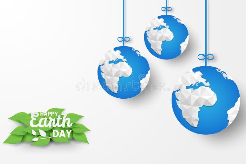 Jour de terre heureux Concept d'écologie, conception avec l'origami bleu de globe accrochant sur le fond blanc illustration de vecteur