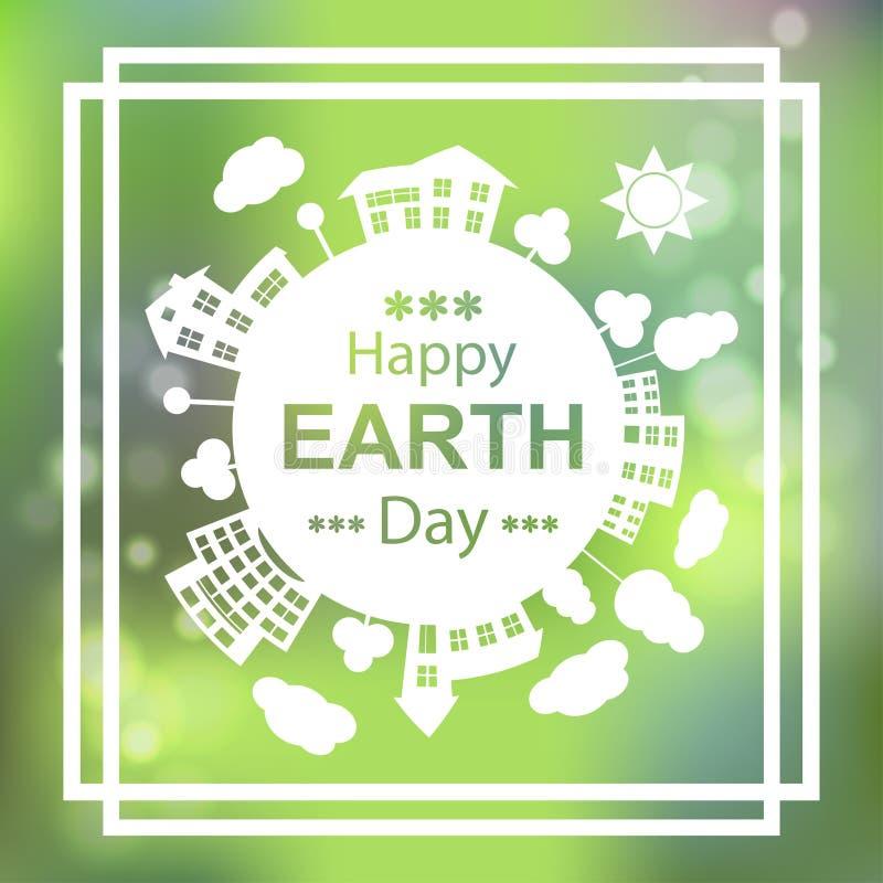 Jour de terre heureux Conception d'affiche de vecteur de vert d'Eco 22 avril illustration libre de droits
