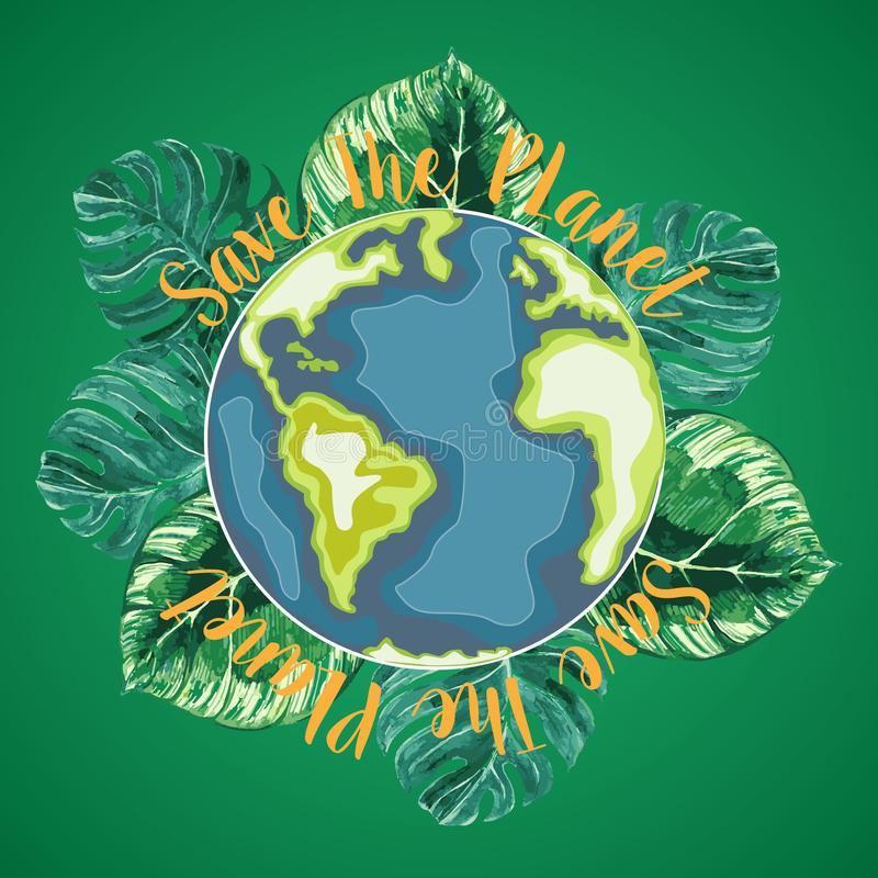 Jour de terre heureux Monde de bande dessinée avec des objets de flore d'aquarelle Illustration ENV 10 illustration de vecteur
