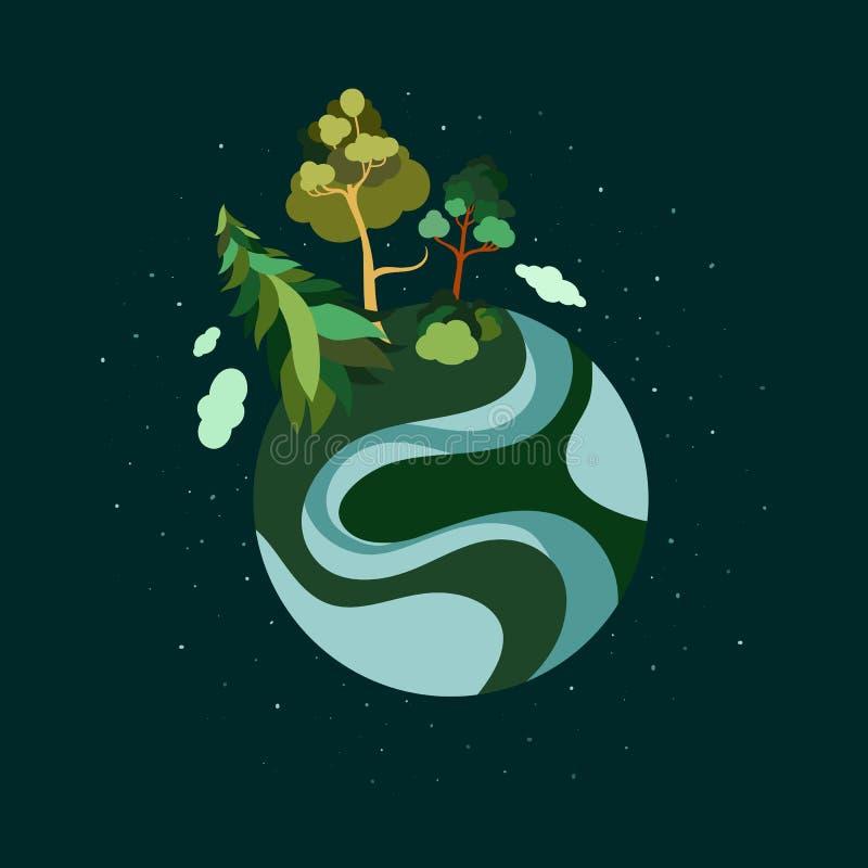 Jour de terre La terre de planète E r Sauf la planète illustration stock