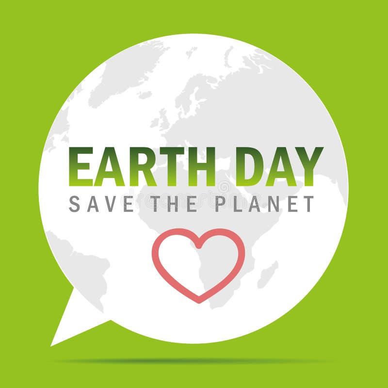 Jour de terre sauf la bulle de la parole de planète illustration libre de droits