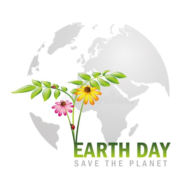 Jour de terre sauf le globe de planète avec des plantes et des fleurs illustration libre de droits