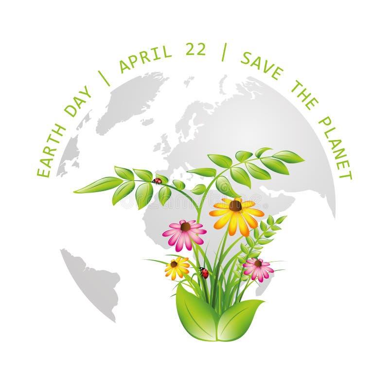 Jour de terre sauf le globe de plan?te avec des plantes et des fleurs illustration stock