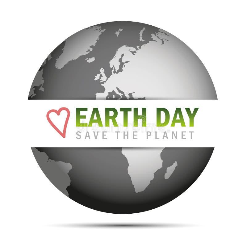 Jour de terre sauf le label et le globe de planète illustration de vecteur