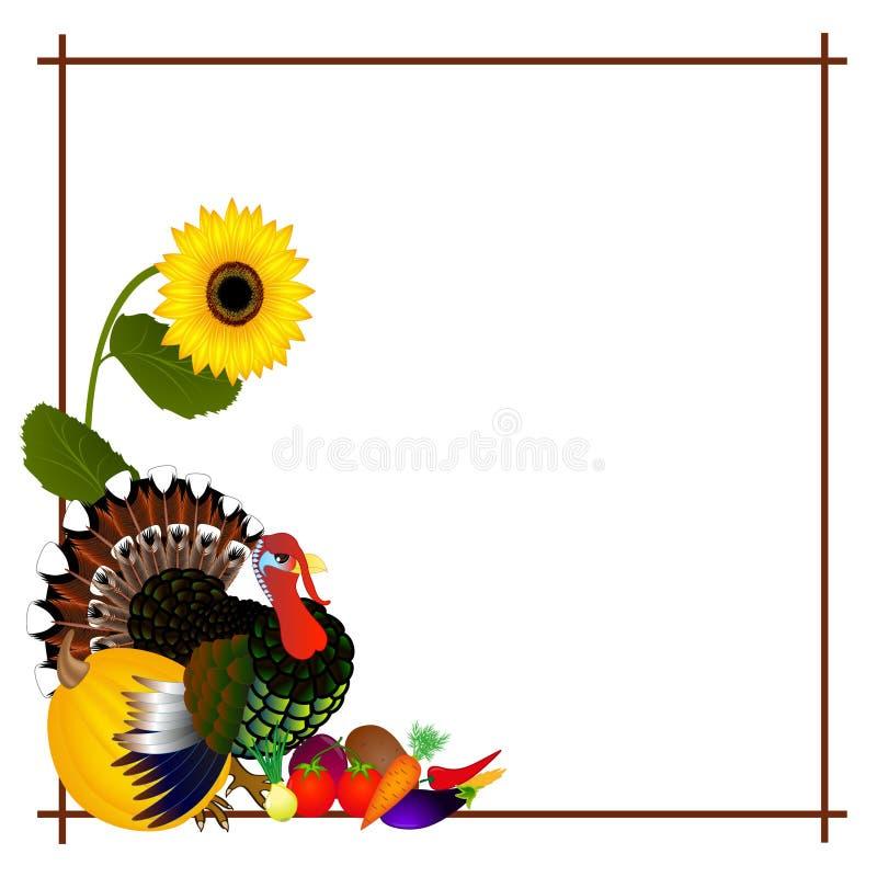 Jour de thanksgiving de vue avec la dinde et les légumes illustration stock