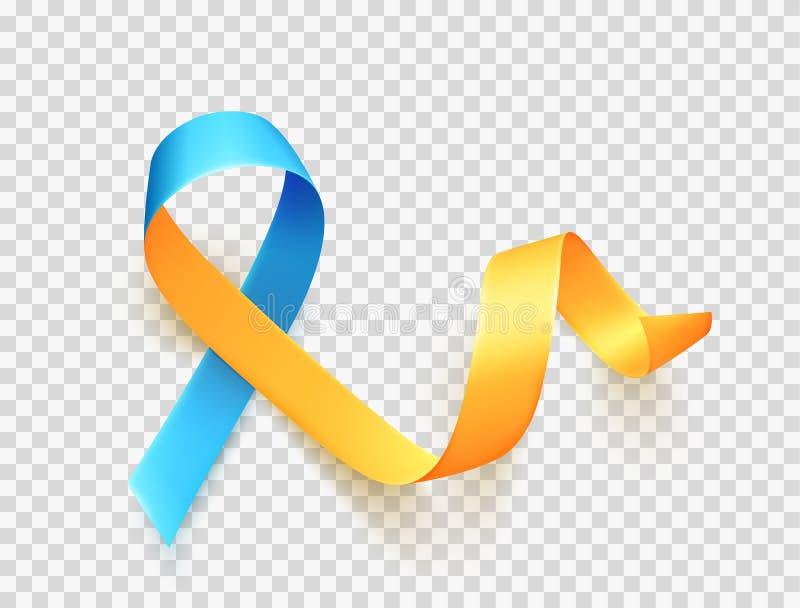 Jour de trisomie 21 du monde 21 mars Symbole jaune bleu réaliste de ruban au-dessus de fond transparent Vecteur illustration libre de droits