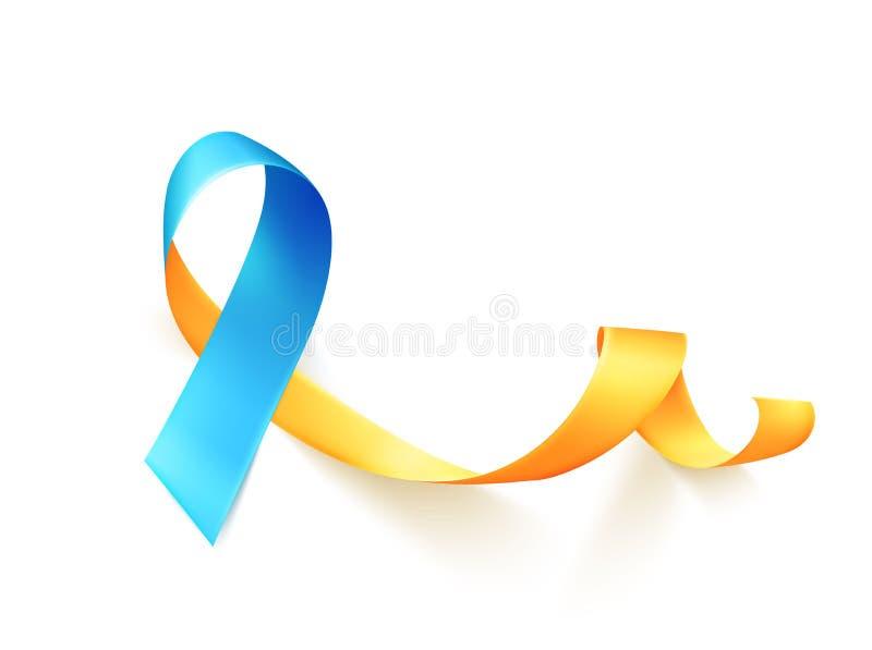 Jour de trisomie 21 du monde 21 mars Symbole jaune bleu réaliste de ruban Descripteur pour l'affiche Vecteur illustration de vecteur
