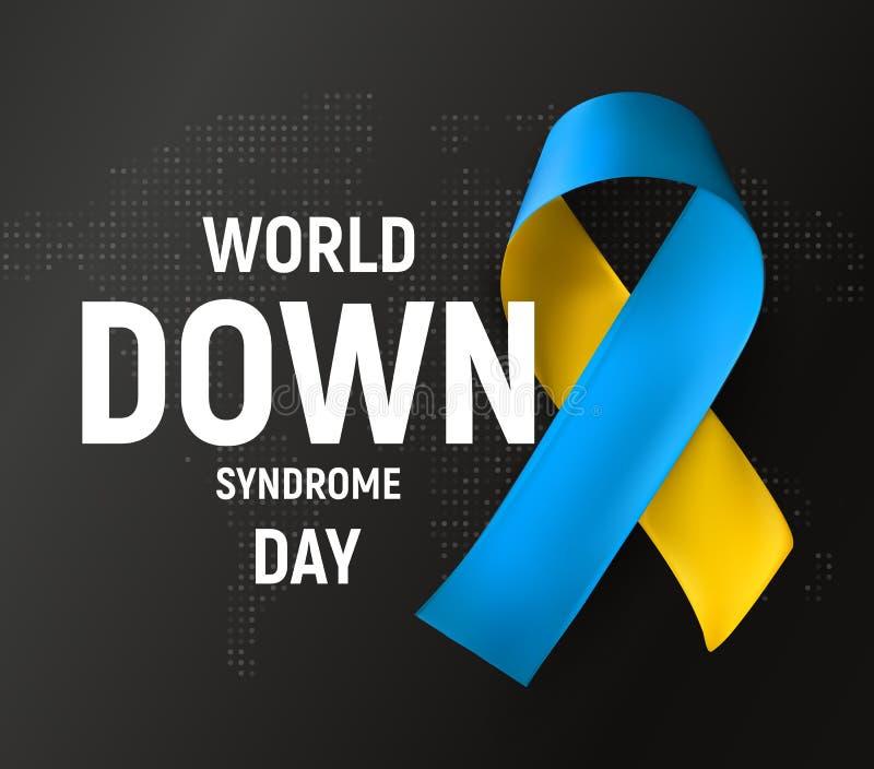 Jour de trisomie 21 du monde, symbole Ruban bleu et jaune, symbole médical de conscience, illustration de vecteur sur le noir illustration stock