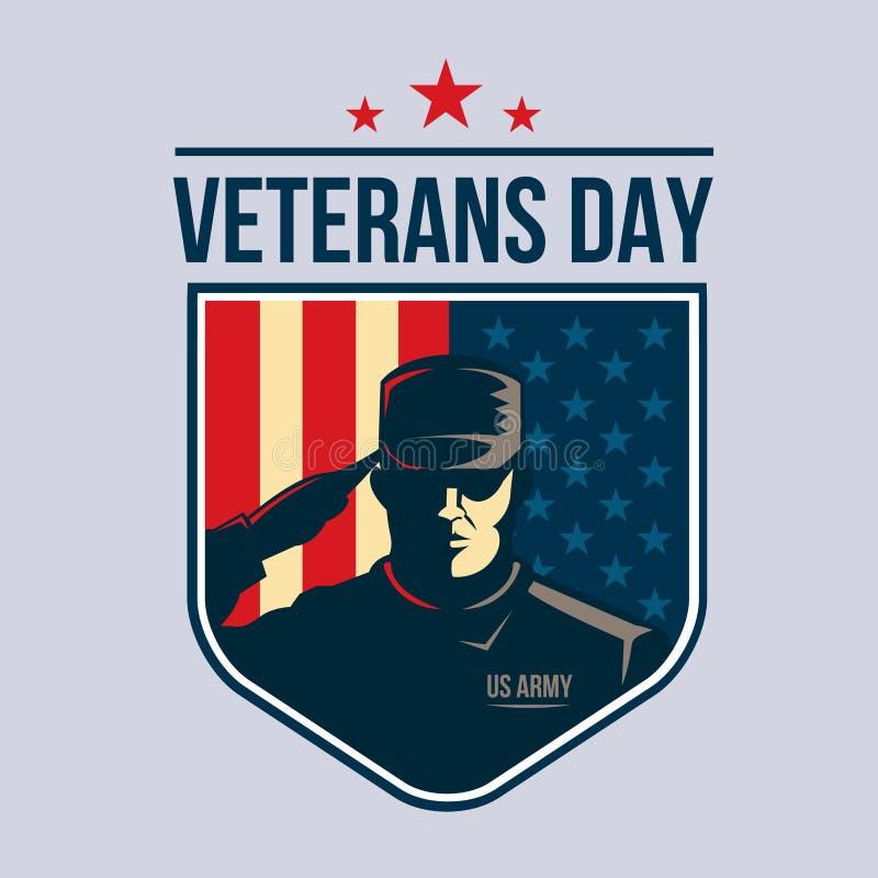 Jour de vétérans - bouclier avec le soldat saluant contre le drapeau des Etats-Unis illustration de vecteur