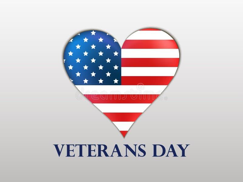 Jour de vétérans Coeur brillant avec un drapeau des USA et ombre sur un fond blanc illustration stock