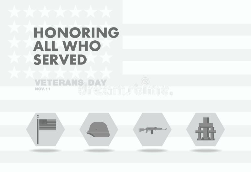Jour de vétérans d'honneurs, conception plate de thème de drapeau d'abstact illustration de vecteur