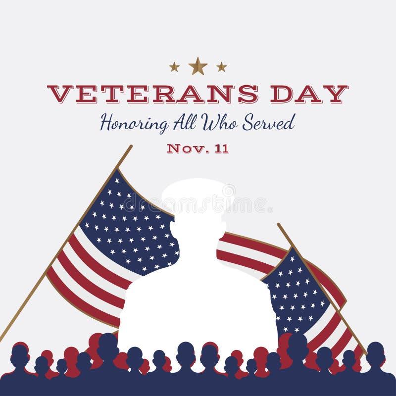 Jour de vétérans heureux Carte de voeux avec le drapeau des Etats-Unis et soldat sur le fond Événement américain national de vaca illustration libre de droits