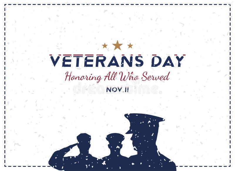 Jour de vétérans heureux Carte de voeux avec le soldat sur le fond Événement américain national de vacances Illustration plate EP illustration stock