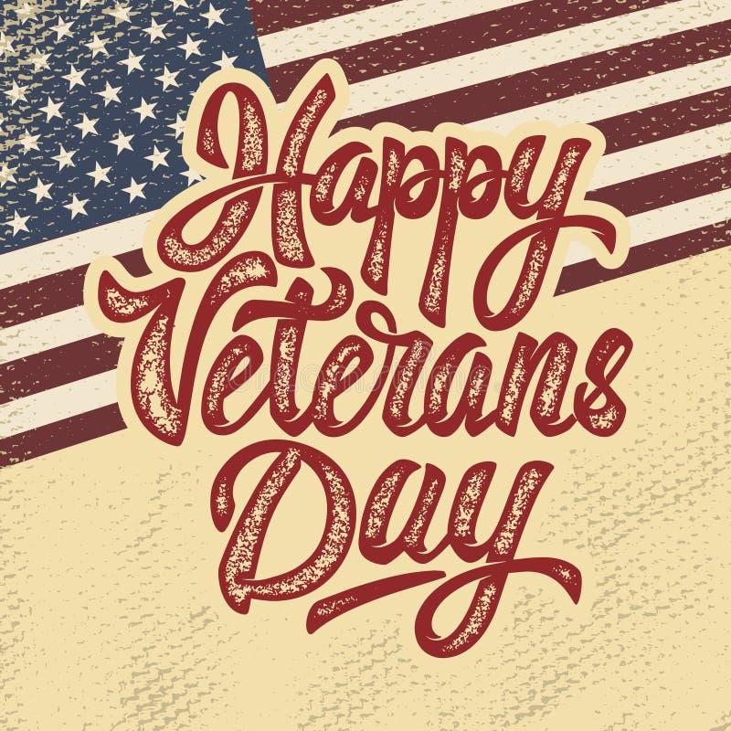 Jour de vétérans heureux Expression tirée par la main de lettrage sur le grun illustration libre de droits