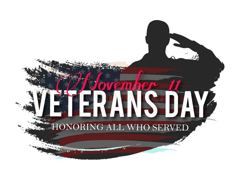Jour de vétérans Honorant tous ce qui ont servi illustration stock