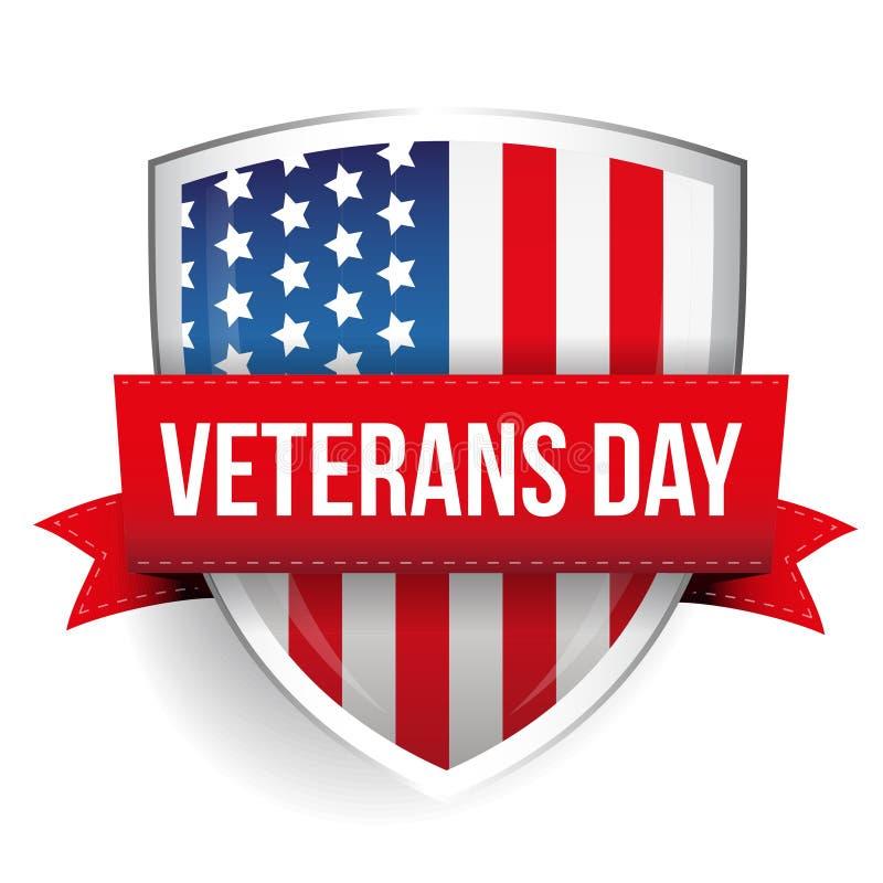 Jour de vétérans sur le bouclier de drapeau des Etats-Unis illustration stock