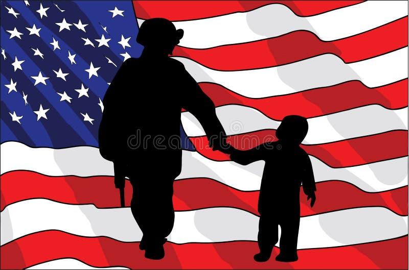 Jour de vétérans Un soldat américain et un enfant Indicateur américain Illustration de vecteur illustration de vecteur