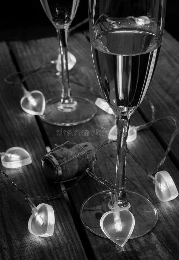 Jour de valentines Champagne en noir et blanc photos stock