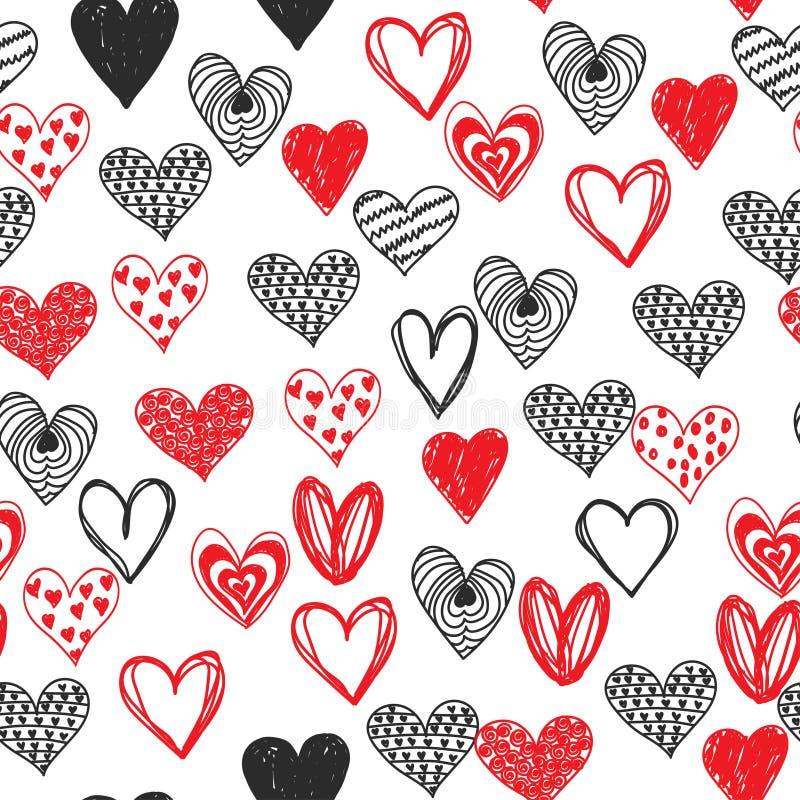Jour de valentines de coeur d'amour de griffonnage sans couture illustration libre de droits