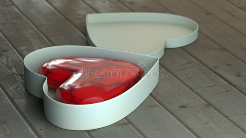 Jour de valentines - coeur rouge à l'intérieur d'une boîte sur les conseils en bois illustration 3D illustration de vecteur