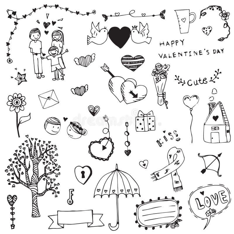 Jour de valentines d'ensemble de griffonnage de carte blanche d'amour illustration stock