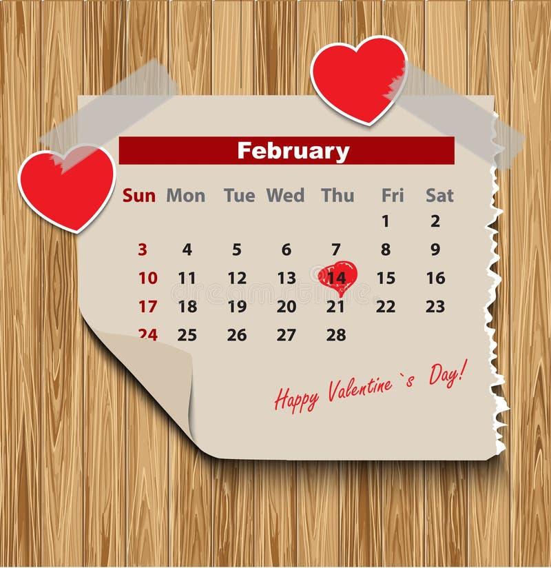 Jour de valentines dans le calendrier illustration de vecteur